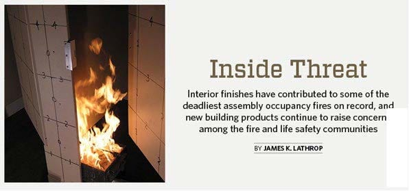 NFPA Journal – Inside Threat Interior Finish Fire Testing